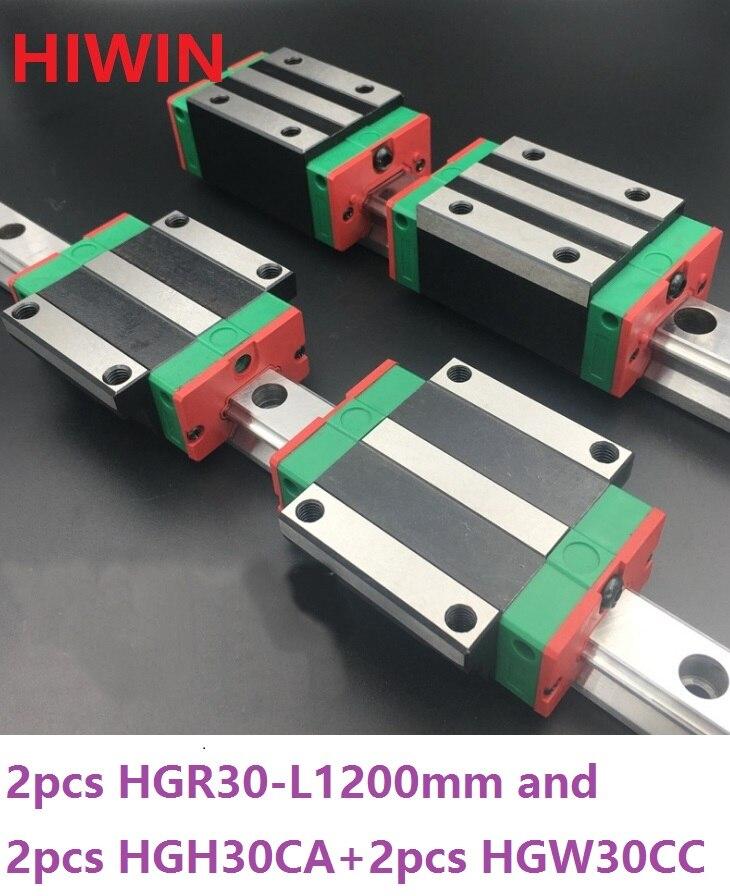 2pcs 100% original Hiwin linear guide rail HGR30 -L 1200mm + 2pcs HGH30CA and 2pcs HGW30CA/HGW30CC linear block for CNC router 2pcs 100