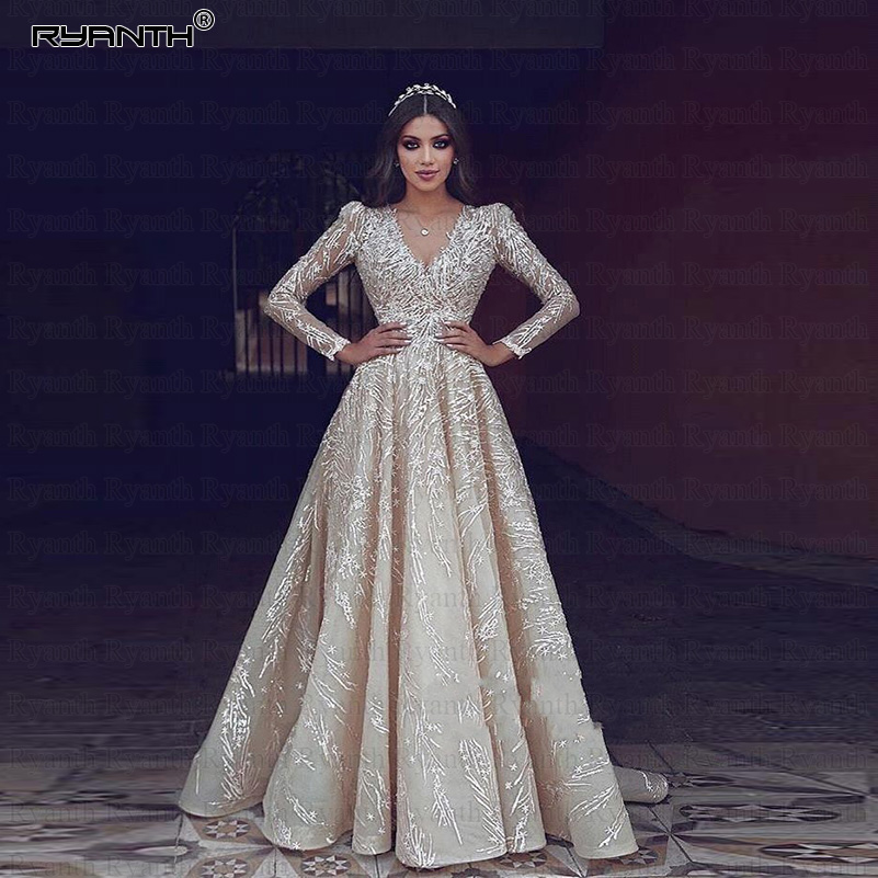 Robe De Mariee Luxury Long Sleeve Wedding Dresses 2019 Princess V Neck Lace Wedding Gowns Bride Dress Bridal Vestidos De Noiva