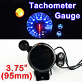 "3.75"" 95mm Tachometer Gauge 3 3/4 Inch Car Tacho Meter Blue LED with Shift Light RPM Auto Gauges 12V Black Shell FREE SHIPPING"