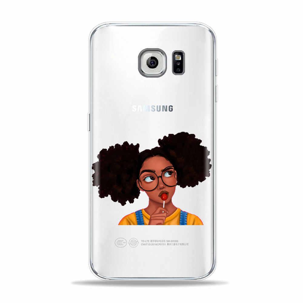 เมลานิน Afros สีดำผู้หญิง Art เคสโทรศัพท์สำหรับ Samsung S10 S9 S8 Plus A30 S7 S6 A50 A70 A9 2018 S10E ฝาครอบกรณี TPU นุ่ม