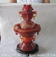 33 см/изысканный 100% натурального оникса ручной резьбой драконы кадило (с деревянной подставкой)