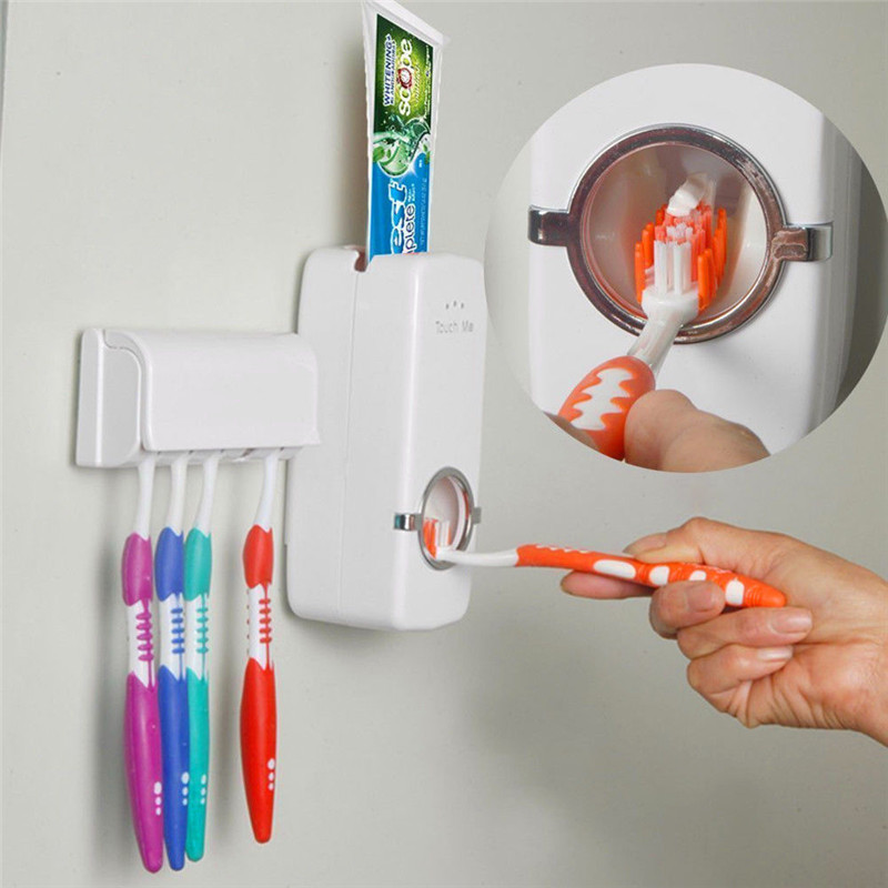 Automatic Toothpaste Dispenser+5 Toothbrush Holder Set Wall Mount Stand