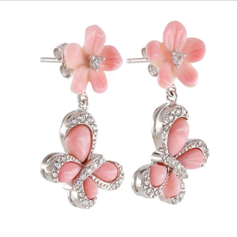 Boucles d'oreilles en argent véritable 925 en forme de coquille naturelle pour femmes, forme de papillon de fleur, mode avec pierre semi-précieuse