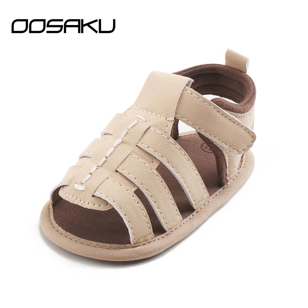 New Summer Baby Boy Shoes Hook & Loop Leather Shoes Cotton Fabric Soft Sole Prewalkers Toddlers Baby Sandals