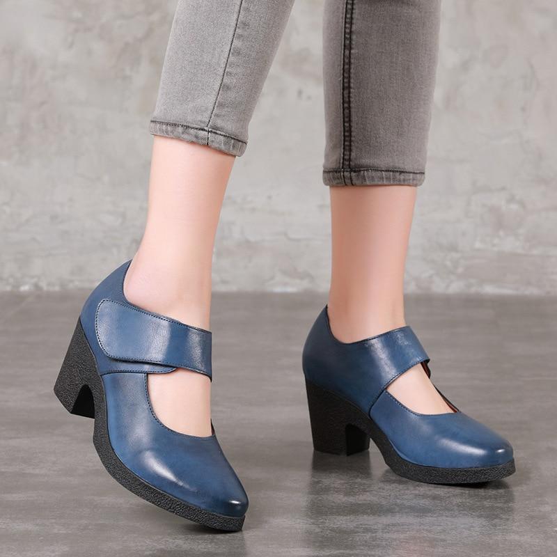 4fee04c5e42244 blue Pompes Talons D'origine Chaussures À Main Actmdall Haute 2018 Femmes  Cuir La Rétro Talon ...