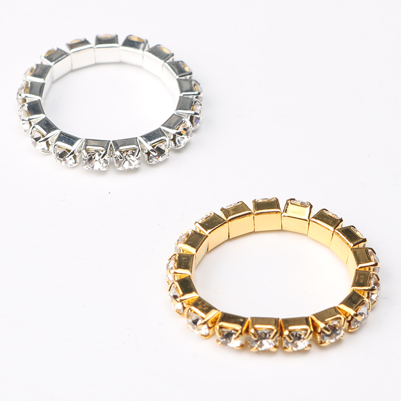 2018 Korean Bright Silver Plated Elastic Cubic Zirconia Rings Shining Full Crystal Rhinestone finger Rings for