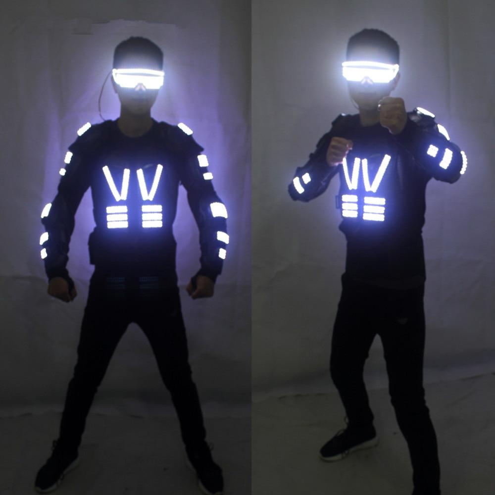 Couleur blanche hommes salle de bal danse lumière LED éclatante armure Costume Costume DJ Disco Bar fête événement approvisionnement Laser LED Robot costumes