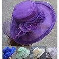 Señoras Para Mujer Summer Flower Kentucky Derby Sombrero Grande de Sun del Borde Floppy Sombreros de Las Mujeres Sombreros de La Iglesia A409
