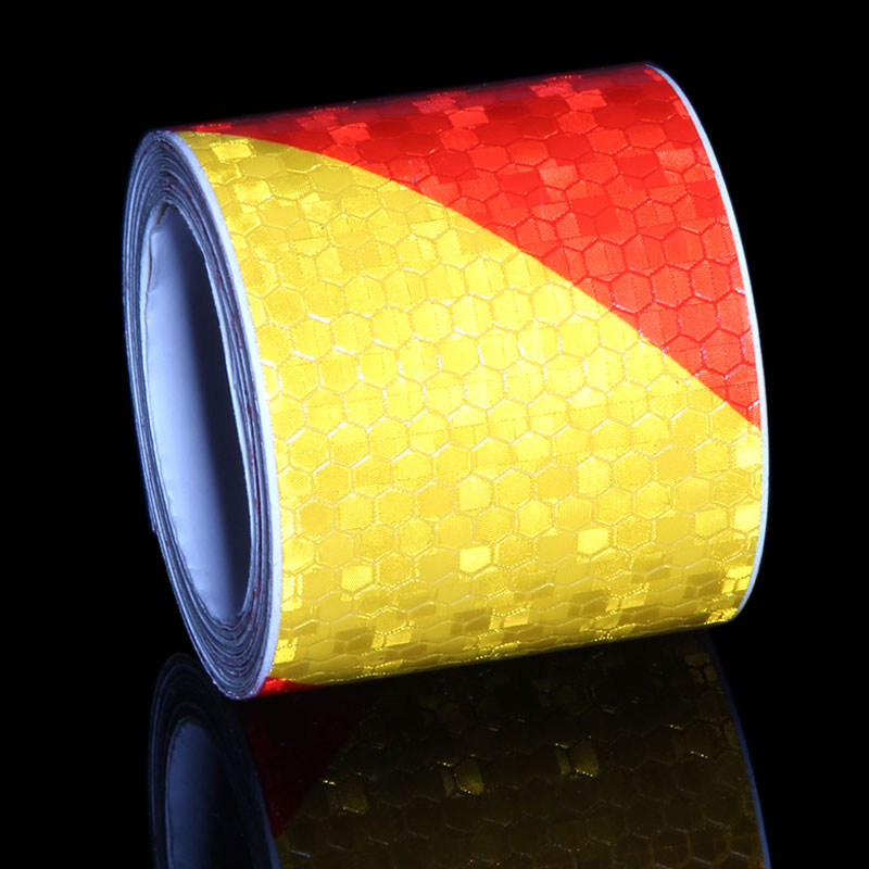 5CMX3M Reflective Marking Tape Yellow Red Bicycle Stickers On The Frame Cars Motorcycle Trailer Sticker Safety Warning Tape