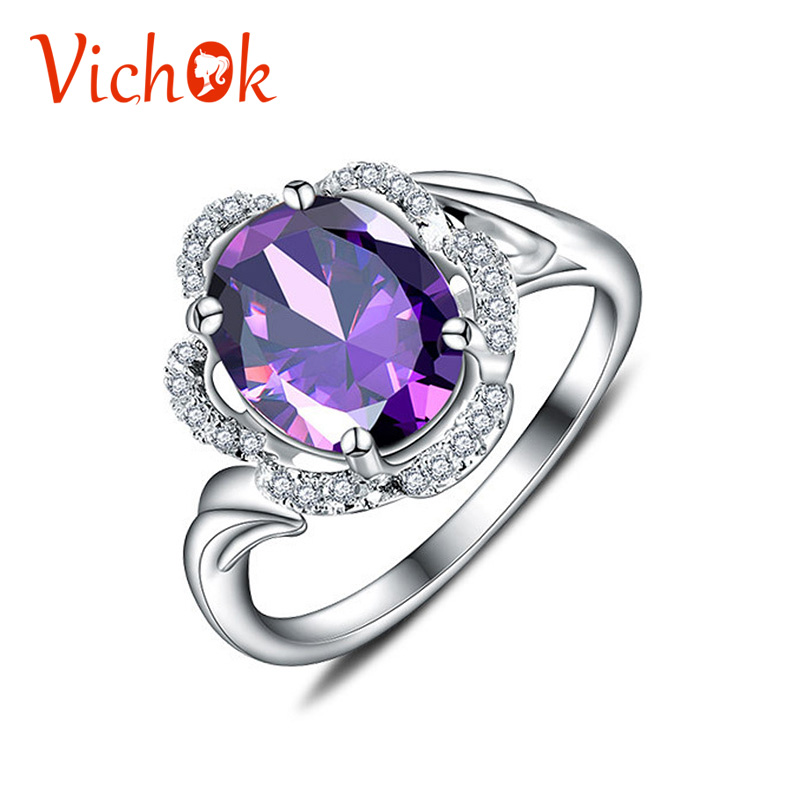 VICHOK Solid 925 Sterling Silver Ring Natural Amethyst Ring With Multi White Zircon Ring Platinum Color For Women Anel Feminino stylish daisy flowers solid color ring for women