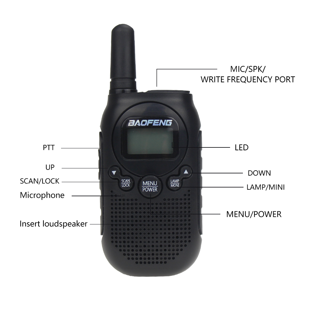 Image 2 - Baofeng BF T6 Kids Walkie Talkie Mini Portable Two Way Radio 0.5W FRS PMR Handheld Interphone Ham Radio Transceiver comunicador-in Walkie Talkie from Cellphones & Telecommunications