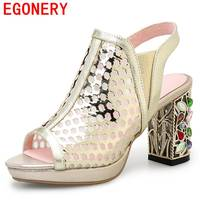 EGONERY Women Sandals Genuine Leather Net Yarn High Heels Hollow Shoes Woman Rhinestones Heel Sandals Peep