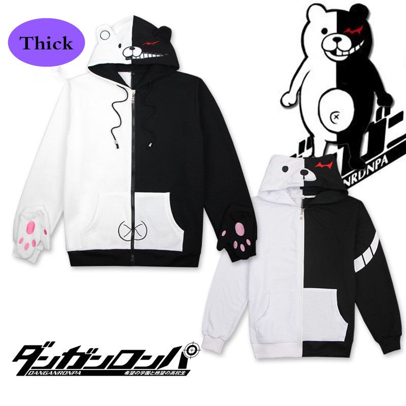 Anime/Game Danganronpa: Trigger Happy Havoc V3 Costumes Monokuma Cosplay Fleece Thick Sweatshirts Hoodies Unisex Tops Coat