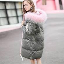 074f8735b00b4 Kadın Moda Kadife Uzun Ceket Giyim Uzun Aşağı Ceket Kadın Kar Kalın Parkas  Femme Kadife Kirpi Ceket Rus Kışlık Mont