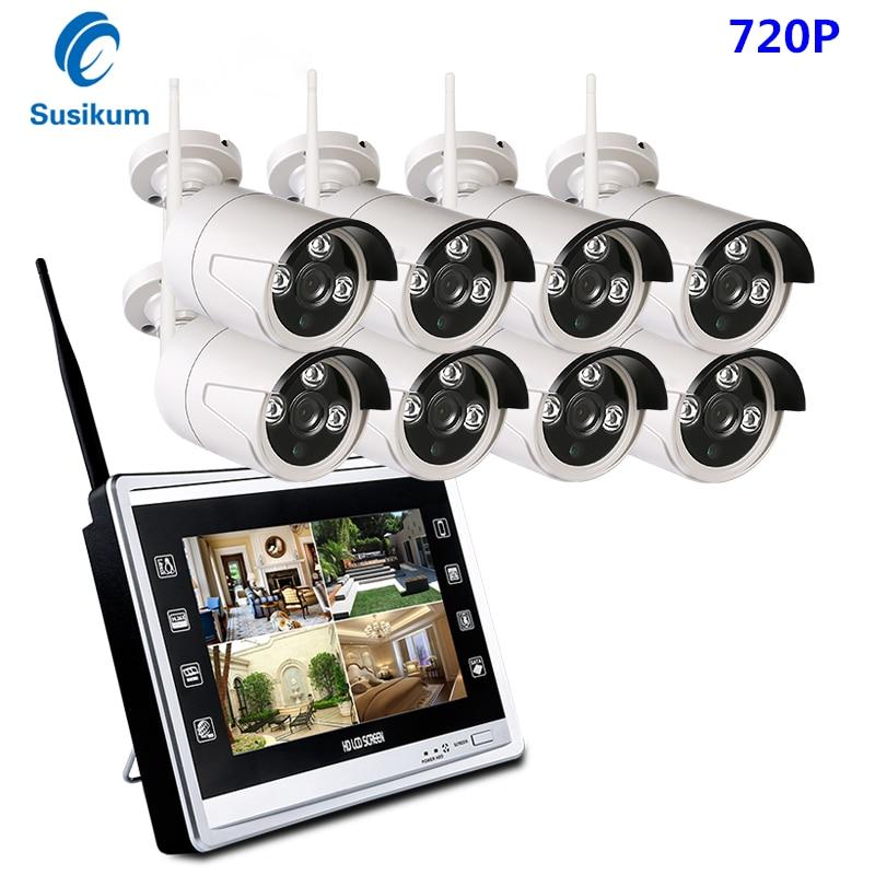 Plug And Play 720 P Беспроводной Wi Fi NVR системы видеонаблюдения 8CH открытый беспроводной наблюдения NVR комплект с 12,5 ''ЖК монитор 1MP IP камеры