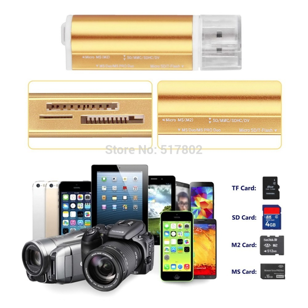 2016 All in one USB 2.0 Multi Memory Card Reader for Micro SD/TF M2 MMC SDHC MS Memory Stick