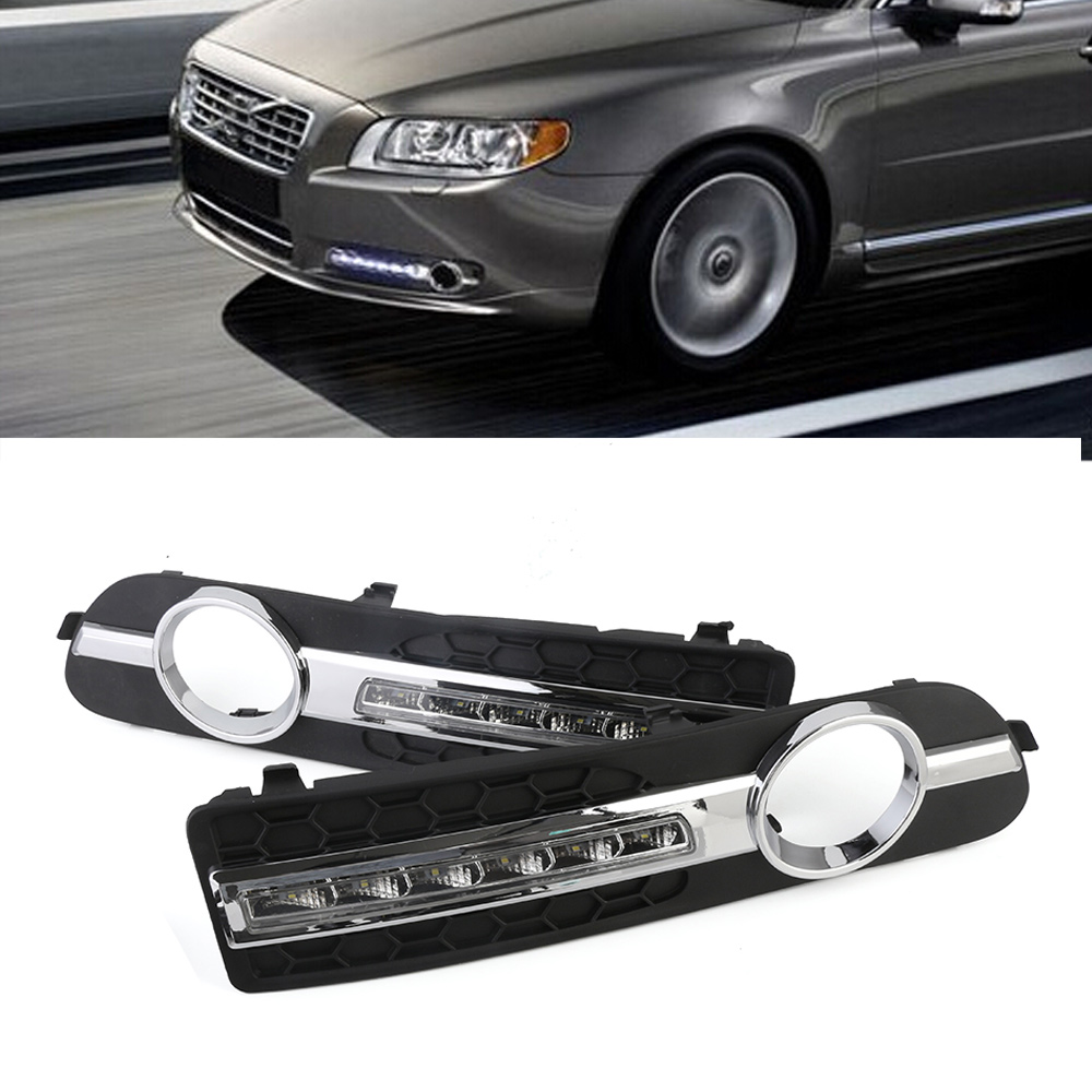 2pc Auto Day Lights LED Car Daytime Running Light DRL White Driving Fog Lamps For Volvo S80 2013-2016 14 15 Free Shipping D35 2x automotive led fog lights h7 3000lm 80w car lights fog lamps drl driving light headlights xenon white 6000k car styling