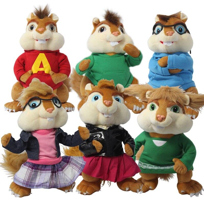 Giocattolo sveglio Della Peluche Alvin And the Chipmunks la coppia scoiattolo chipmunk Erwin Simon Theodore morbido dol regalo di compleanno 1 p in Candice ...