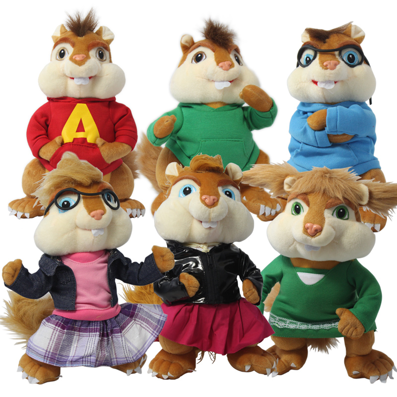 Candice Guo! Cute Plush Toy Alvin And The Chipmunks The Couple Squirrel Chipmunk Erwin Simon Theodore Soft Dol Birthday Gift 1p