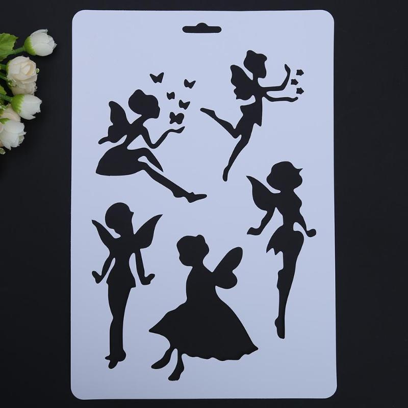 VODOOL Fairy Wings Hollow DIY Drawing Stencils Templates Painting Scrapbooking Paper Cards Album Stencils Ruler School Supplies
