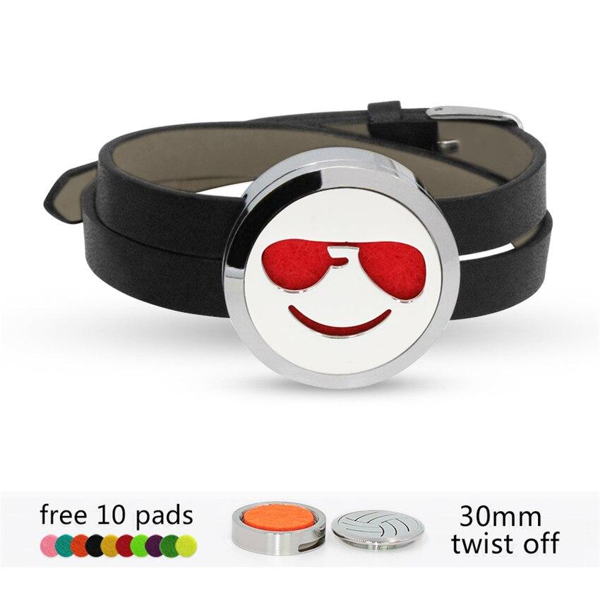 Face Expression Twist Stainless Steel Bracelet Essential Oil Perfume Diffuser Locket Slide Bracelets Leather Band 10pcs Pads