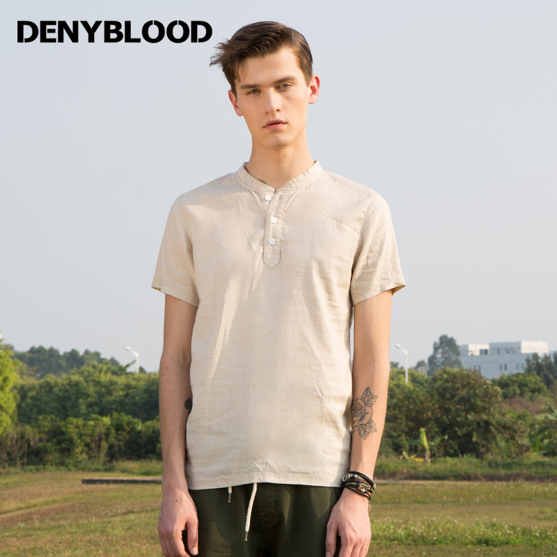 70445abd15dcd2 Denyblood Jeans 2017 Summer Mens Tencel Linen Tops T Shirt Short Sleeve  Straight Tees Stretch Linen Fashion Tops 1901-in T-Shirts from Men's  Clothing on ...