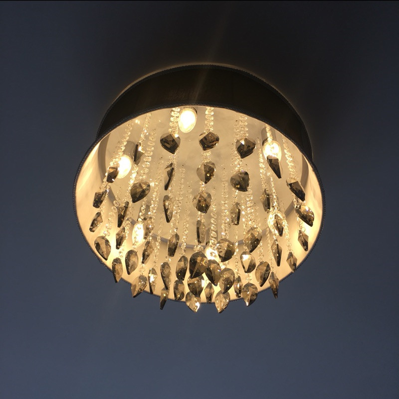 FUMAT Smoke Grey Crystal Chandelier Modern Suspension