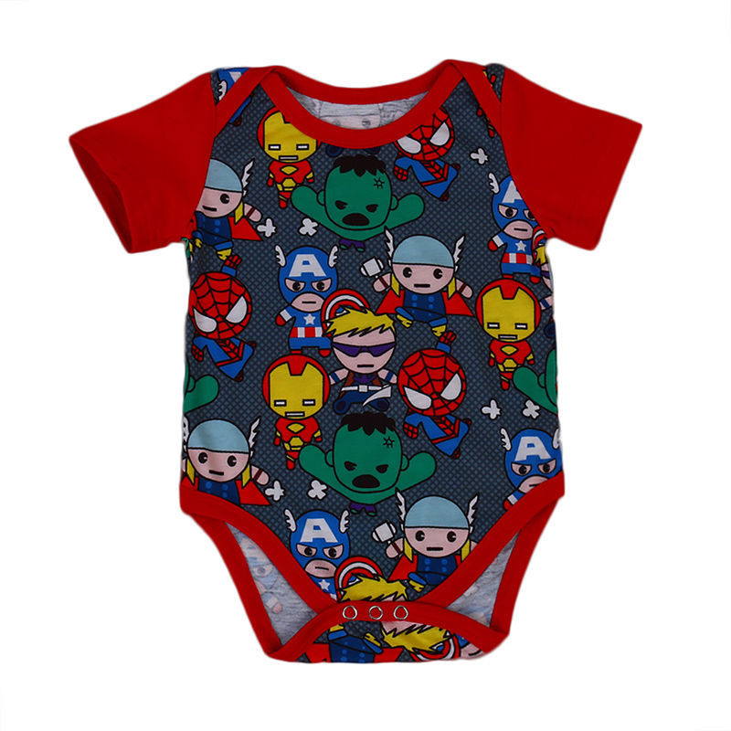 2017 Newborn Baby Boy Bodysuit Summer Short Sleeve Cartoon Hero Body Suit Jumpsuit Outfits Baby Clothes 0-18M(China)