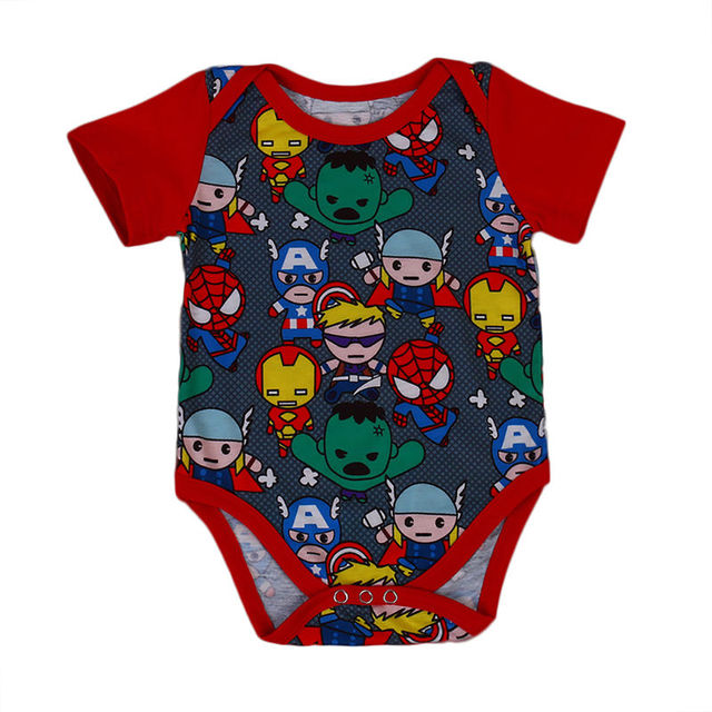 2017 Neugeborenes Baby Body Sommer Kurzarm Cartoon Held Body Suit Jumpsuit Outfits Baby Kleidung 0-18 Mt