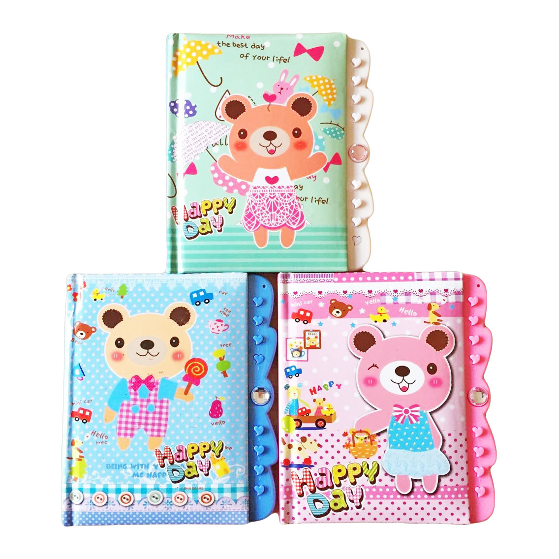 1pcs Cartoon Bear Password Lock Diary Notepad Creative School Supplies For Kids 58 Sheets Daily Memos Notebook(Style Random)