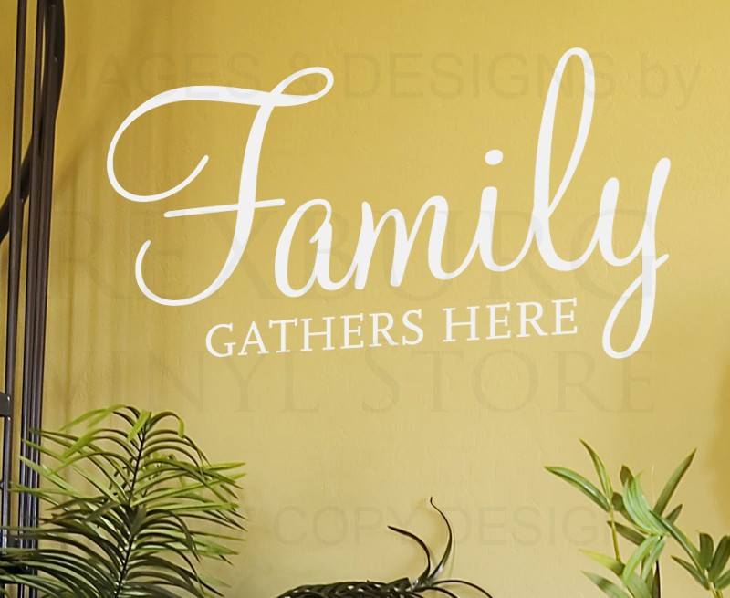 Wall Decal Art Sticker Quote Vinyl Lettering Family Gathers Here Dining Room DecorChina