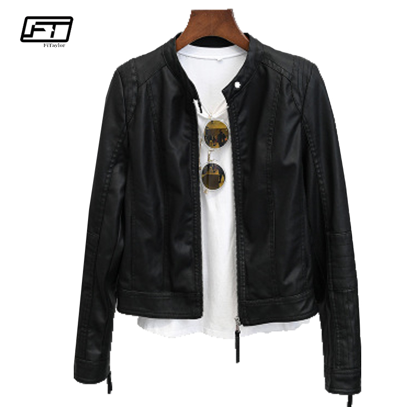 Fitaylor 2018 Spring Autumn Moto & Biker Jacket Women Mandarin Collar Long Sleeve Zipper Casual Motorcycle   Leather   Jacket Female