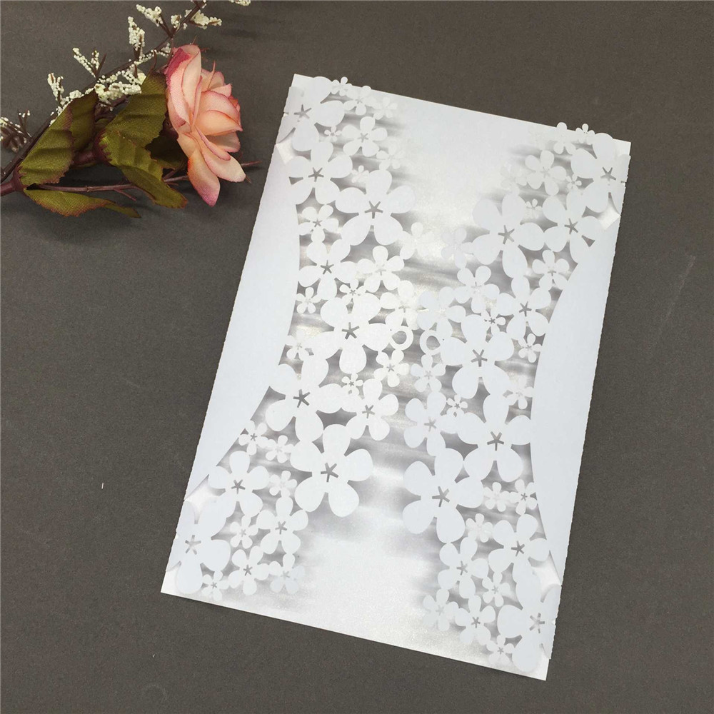 40 PCS Romantic Iridescent Paper Wedding Invitation Card Carved Flower Pattern Hollow Out Crafts Cards for Party Wedding Banquet 1 design laser cut white elegant pattern west cowboy style vintage wedding invitations card kit blank paper printing invitation