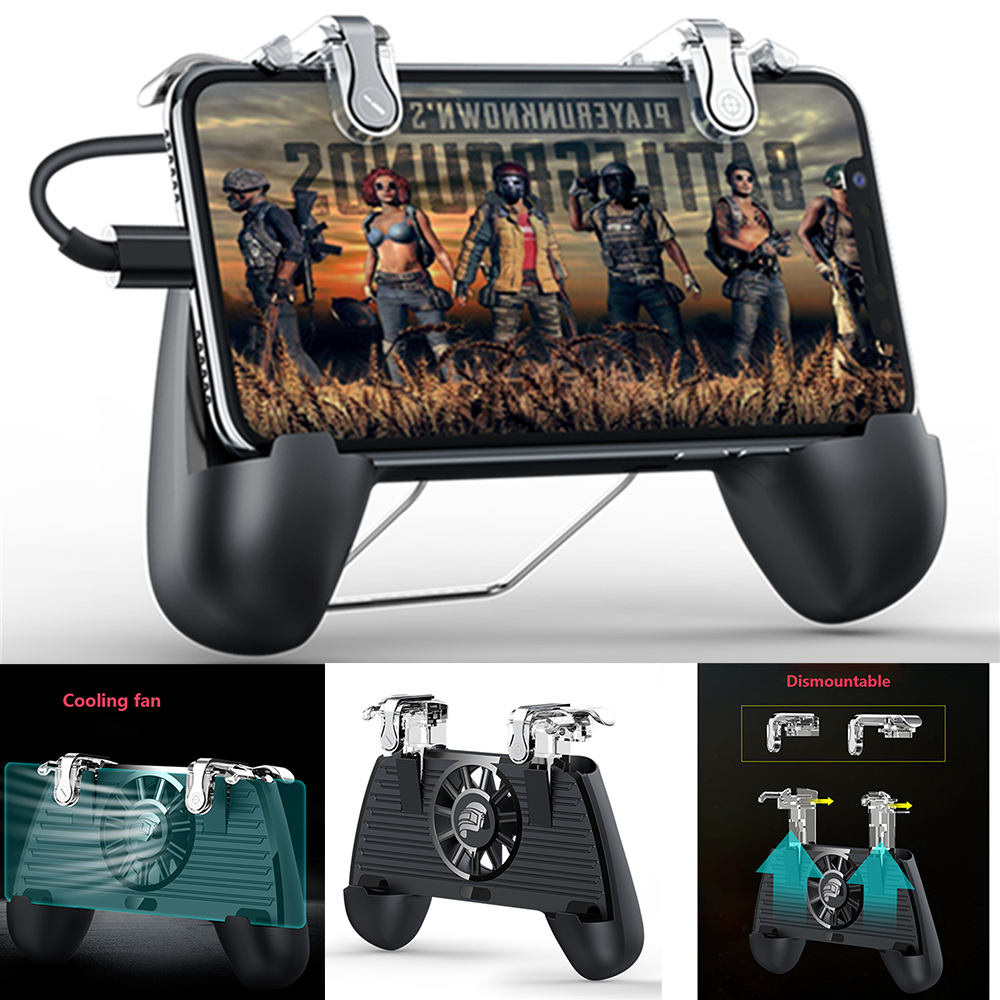 Mobile Phone PUBG Gamepad for iphone iOS & Android Smart Phones L1 R1 Game Shooter Controller with Cooler Cooling Fan Gamepad