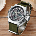 New Arrival Dual Display Mens Sport Watch With Army Green Nylon Watches Strap Best Gift For Birthday Christmas