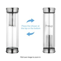 Preup Outdoor Office 400ML Double Layer Borosilicate Glass Stainless Steel Fruit Tea Coffee Heat Preservation Filter