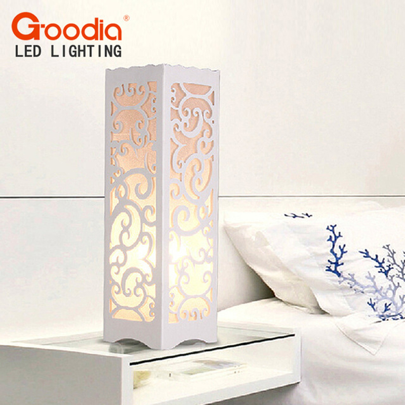 White Table Lamp with Vine Shaped Cutout Modern Lampshade Living Room Bedroom AC110 220V desk light