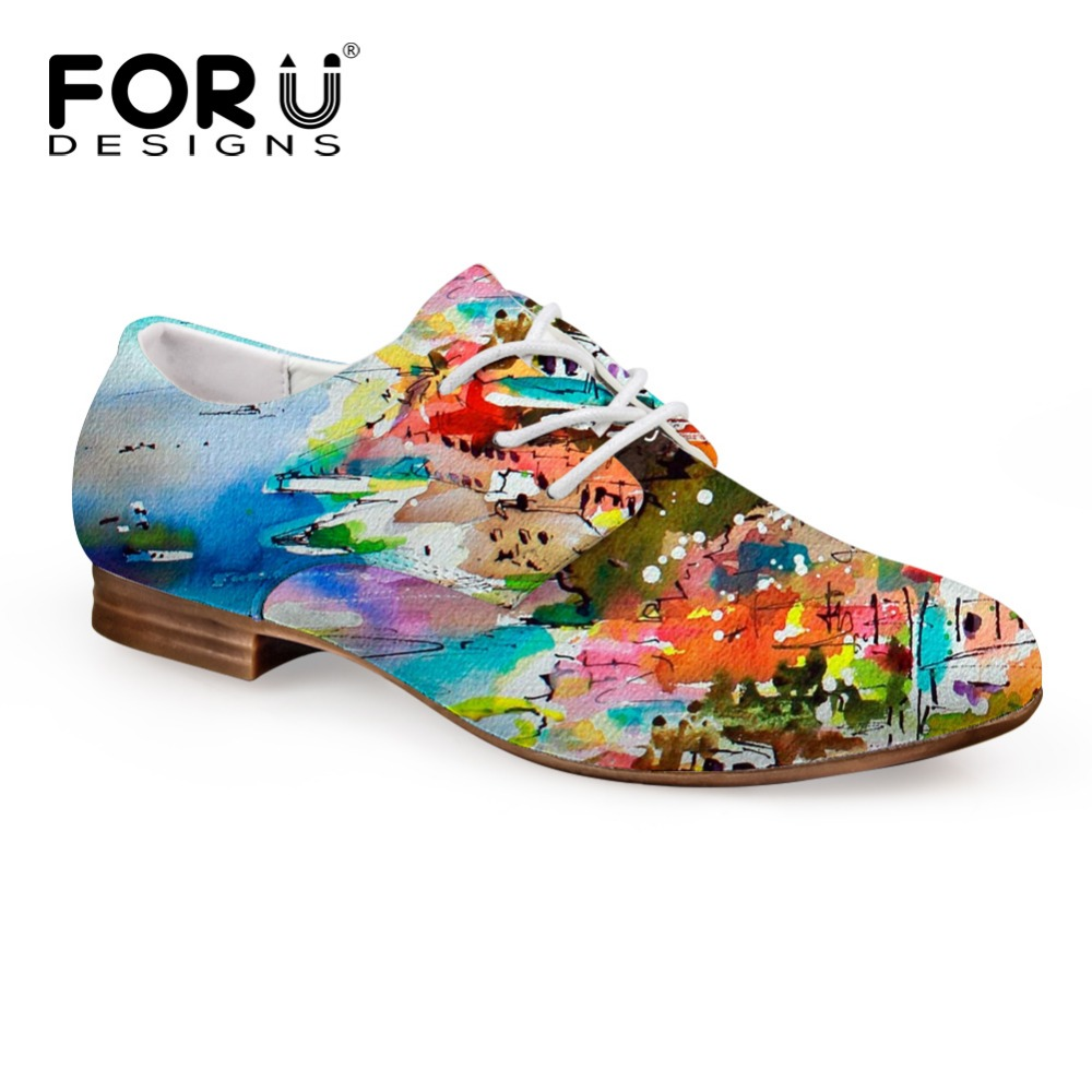 FORUDESIGNS 2018 Autumn Women's Oxfords Shoes 3D Painting Lace-up Casual Leather Shoe for Women Lady Student Flats Zapatos Mujer