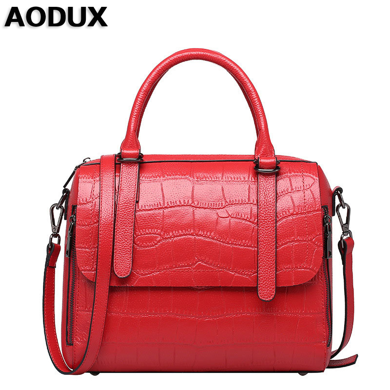 AODUX Summer Small Women Genuine Leather Tote Bag Luxury Famous Brands Crocodile Pattern Handbag Woman Shoulder Messenger Bag women crocodile embossed bag handbags 100% genuine cow leather for women handbag flaps shoulder tote messenger bag famous brands