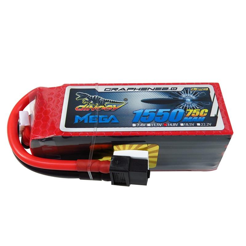 Rechargeable Lipo Battery Giant Power DINOGY MEGA GRAPHENE 2.0 14.8V 1550mAh 4S 75C XT60 Lipo Battery For FPV Racing Drone high quality rechargeable lipo battery zop power 14 8v 1800mah 75c 4s lipo battery xt60 plug