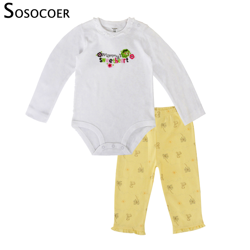 SOSOCOER Baby Clothes Set Baby Girls Romper Pants Cotton Outfits Newborn Infant Girls Clothing Set Bodysuits Baby Clothes newborn infant baby girl little sister romper pants headband outfits set clothes children infant girls sister clothing set 2pcs