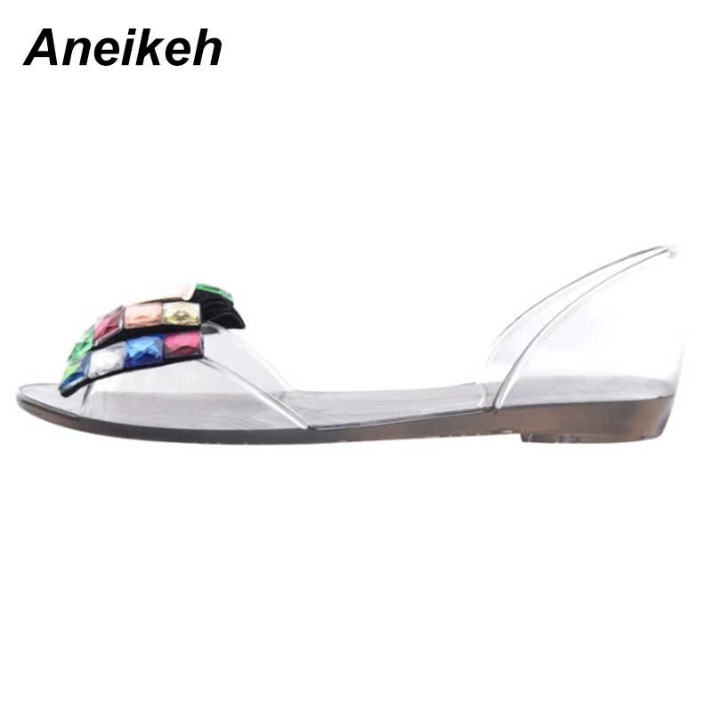 3a84ef9f52 ... Aneikeh Women Sandals Summer Style Bling Bowtie Jelly Shoes Woman  Casual Peep Toe Sandal Crystal Flat