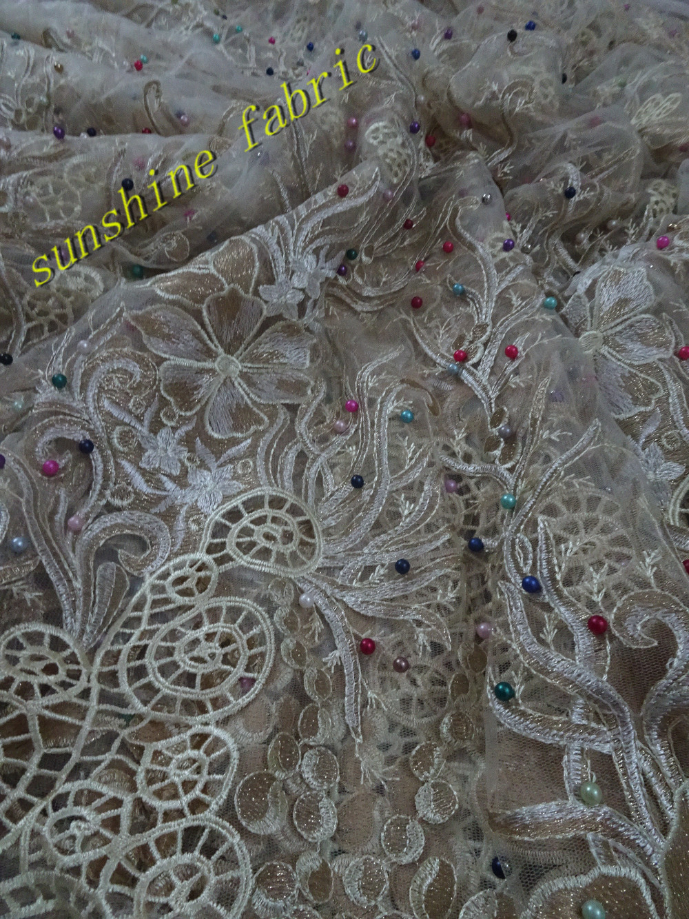 Nigerian net lace fabric top quality French tulle embroidered net lace  fabric with beads pearls for 5af97161c15e