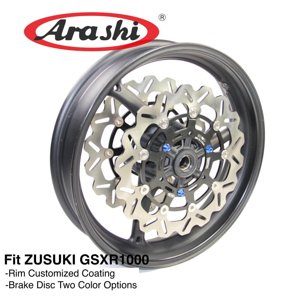 Arashi GSXR1000 09-16 Front Wheel Rim Brake Discs Rotor For SUZUKI GSX-R GSXR 1000 2009 2010 2011 2012 2013 2014 2015 2016 K9 injection mold fairing kit for suzuki gsxr1000 09 10 gsx r gsxr 1000 k9 2009 2010 fashion white fairings set 7gifts sz07