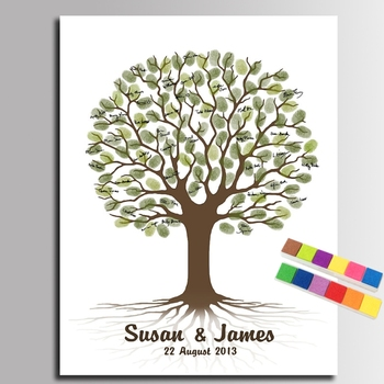 Diy Parmak Izi Düğün Ağacı Imza Tuval Boyama Düğün Hediyesi Düğün