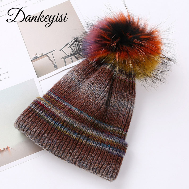 DANKEYISI Natural Raccoon Fur Pompon Hat Thick Winter For Women Cap Beanie Hats Knitted Warm Caps Female Skullies Beanies Gorros new natural raccoon fur pompom hat thick winter for women cap beanie hats knitted cashmere wool caps female skullies beanies