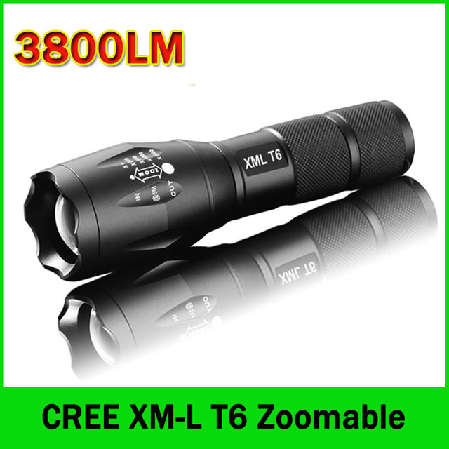 LED Flashlight 3800 Lumens Tactical Flashlight CREE XM-L T6 LED Torch Zoomable cree light For 3xAAA or 1×18650 Camping Hiking