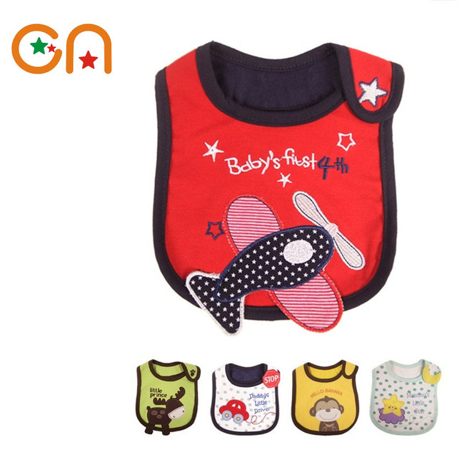 Baby waterproof bibs Girl Boy cotton Cartoon bib Kids Dinner Feeding Children apron Infant Newborn Burp Cloths free shipping CN