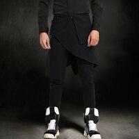 mens skirt Couture men's tide brand personality pants Slim pants feet costume male singer Harlan pants skirt men saia masculina
