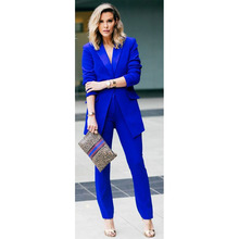New Royal blue 2 piece set women business suits slim fit ladies office uniform elegant pant suits female trouser suits